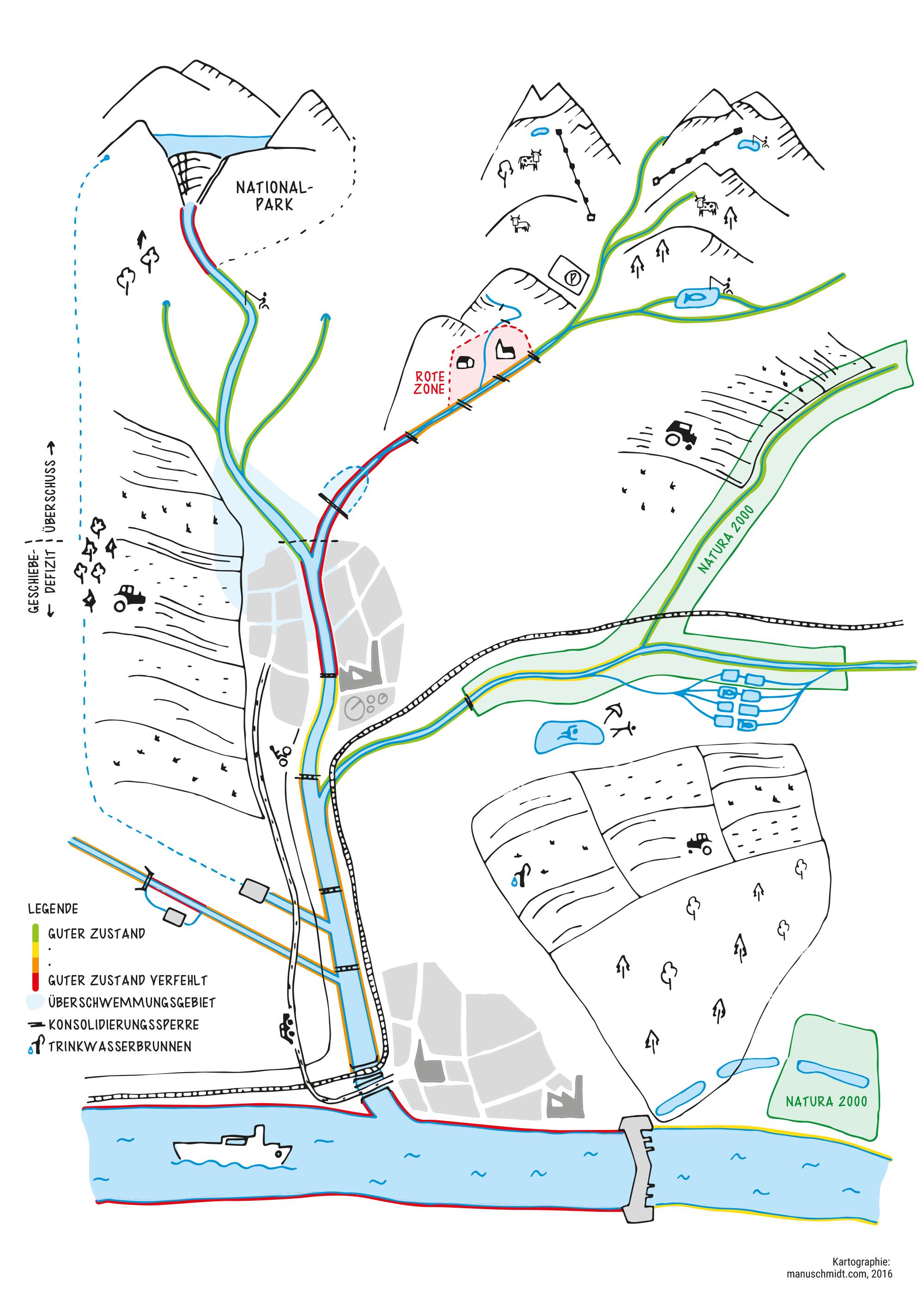 Handillustrierte Karte zum Thema Wasser